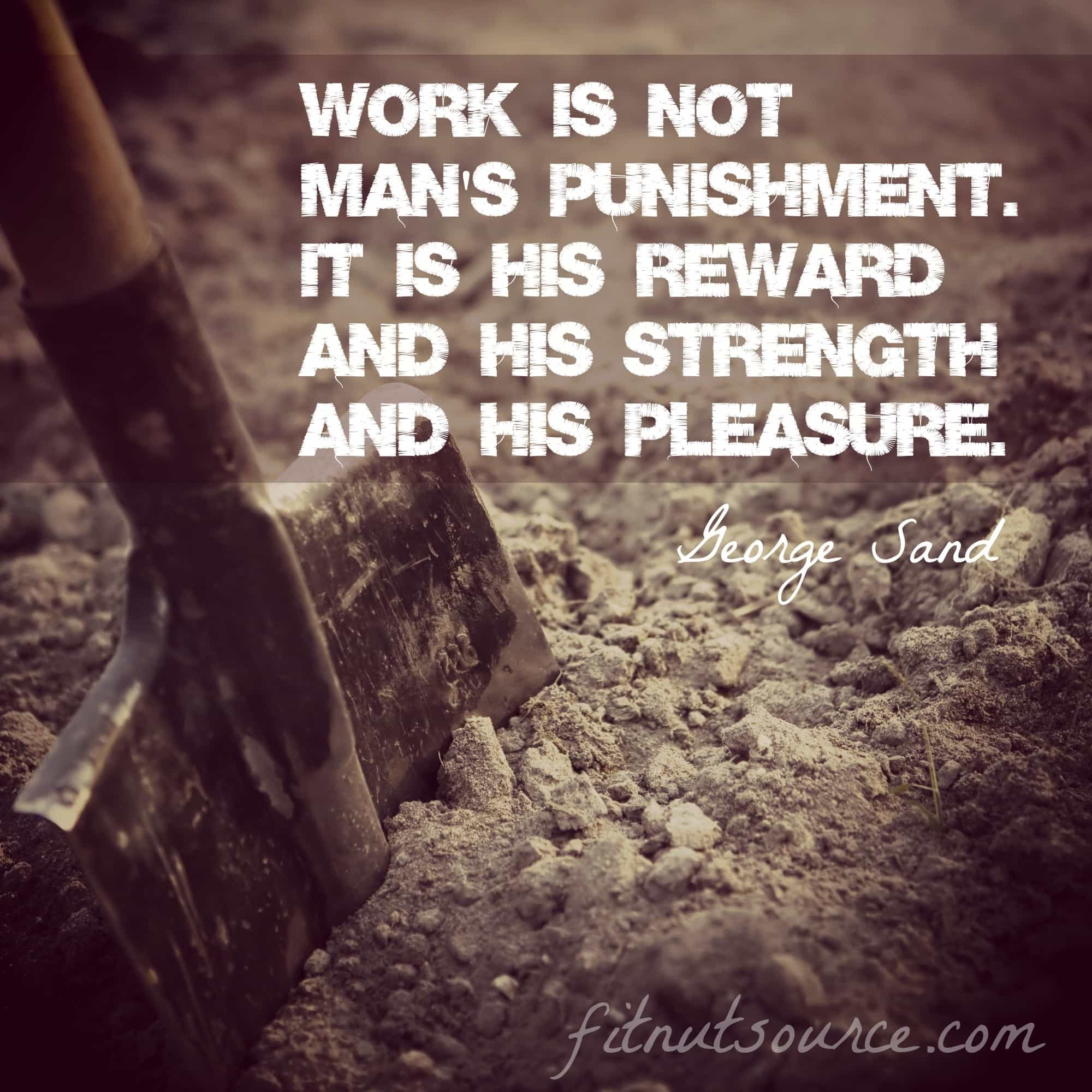 Work is not man's punishment. it is his reward and his strength and