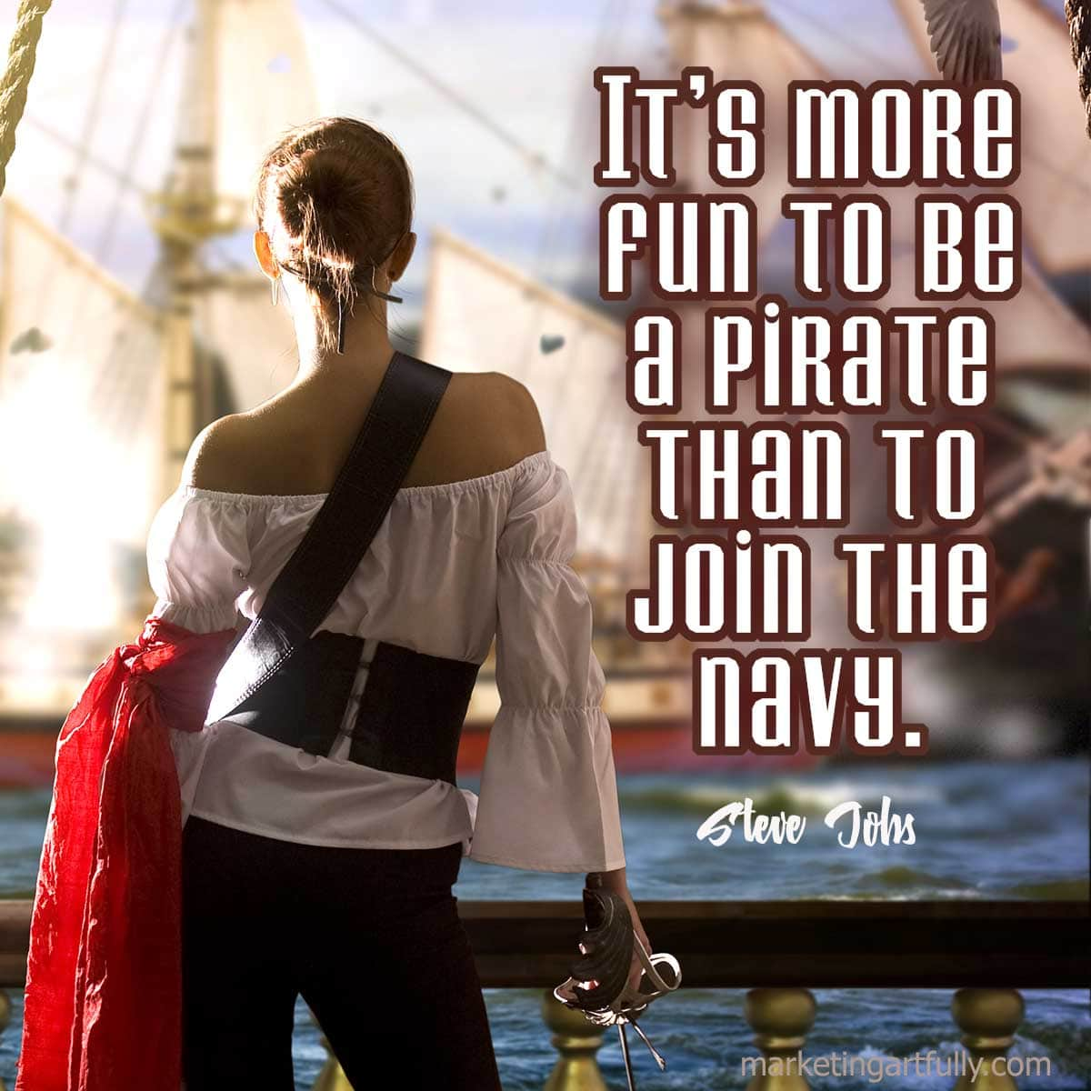 It's more fun to be a pirate than to join the navy.Steve Jobs