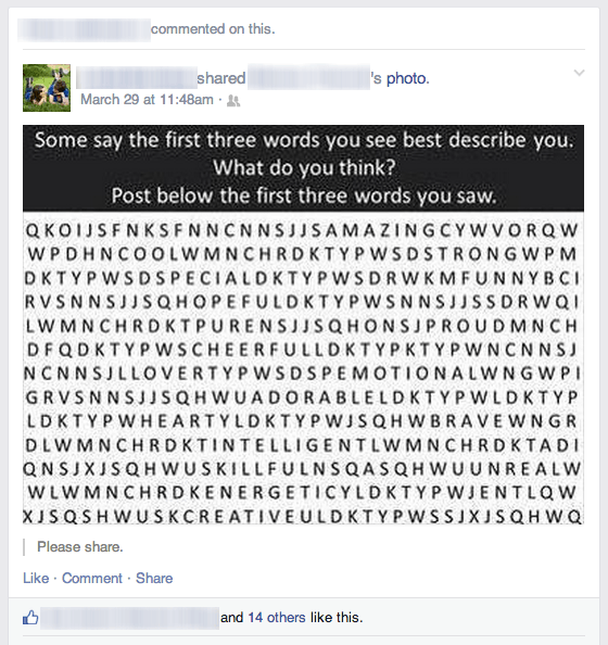 Facebook Word Search