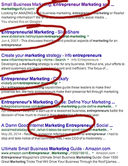 Google search results for entrepreneur marketing