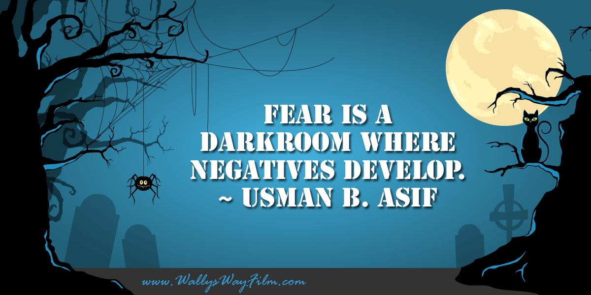 Fear is a darkroom where negatives develop. ~ Usman B. Asif