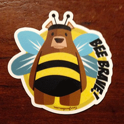 Bee Brave Bear Sticker