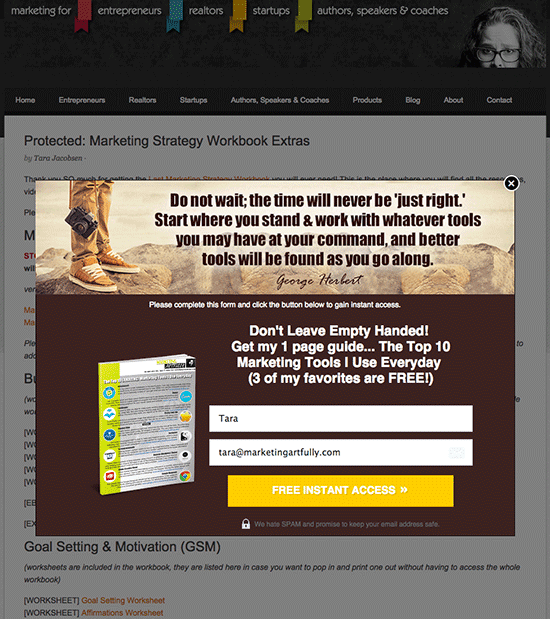 My pretty Lead Pages popup box