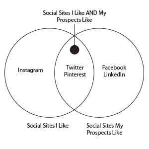 Venn Diagram of my social site preferences and my peeps