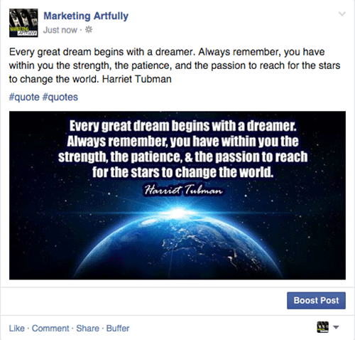 Facebook Posts Example of a direct upload