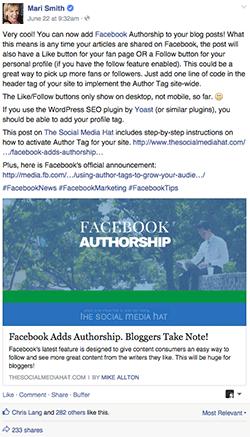 Mari Smith Authorship Post