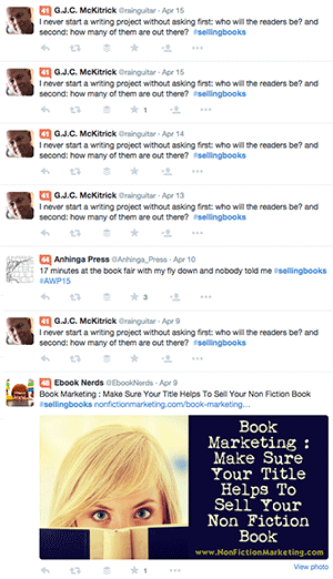 Twitter Selling Books Posts
