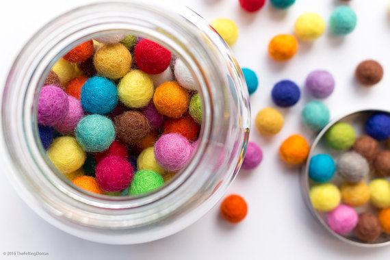 1cm Wool Felt Ball x 150 Multicolour. 10mm Felt Balls Mixed Colour.