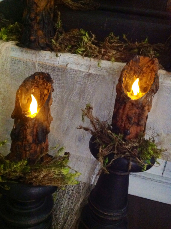 Primitive Folk Art Halloween Witchy Salem Tavern Waxless Battery Powered Flickering Candles