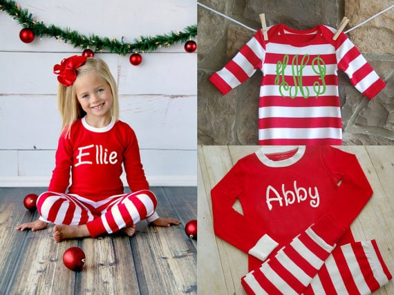 Personalized Christmas Pajamas - Embroidered Monogram Christmas Pj'sPersonalized Christmas Pajamas - Embroidered Monogram Christmas Pj's