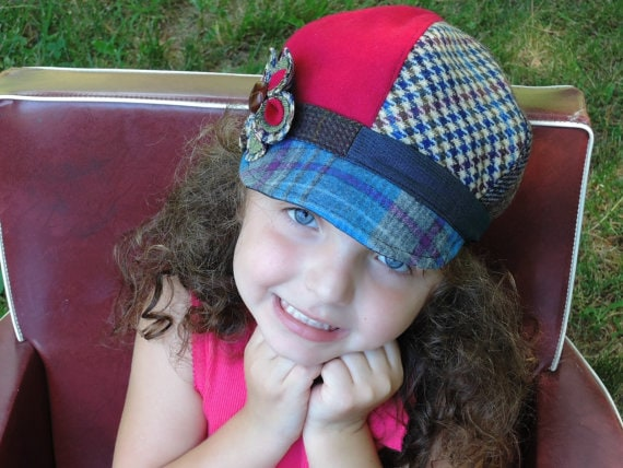 Newsboy Hat, Little Girls Newsboy Hat with flower,