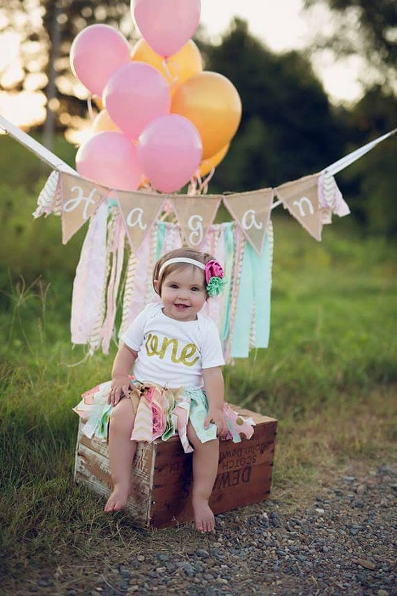 Pink Mint Gold Birthday Outfit Birthday Tutu 1st Birthday