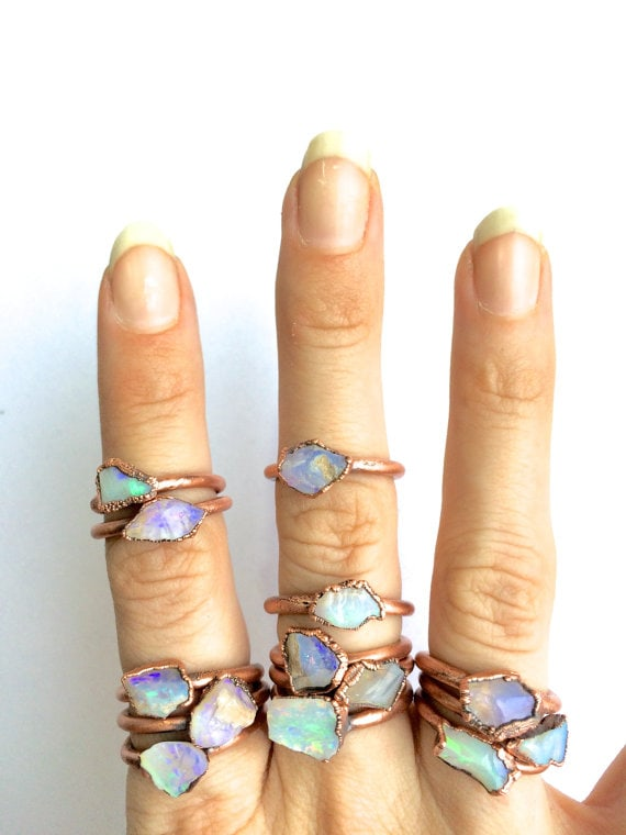 Raw opal ring | Australian opal ring | Rough opal ring