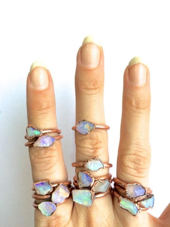 Raw opal ring | Australian opal ring | Rough opal ring