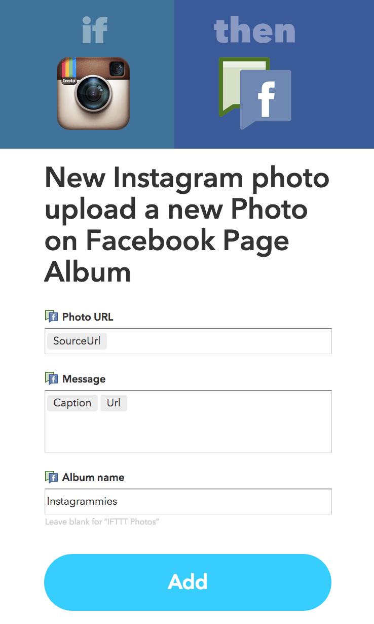 IFTTT Instagram to Facebook
