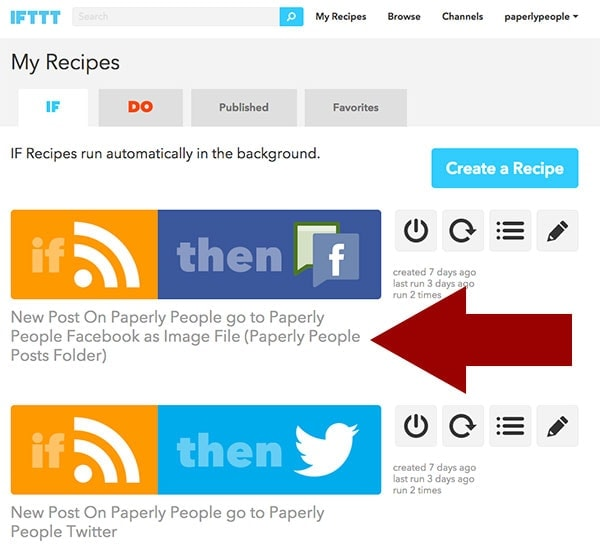 Change Name of IFTTT Recipe