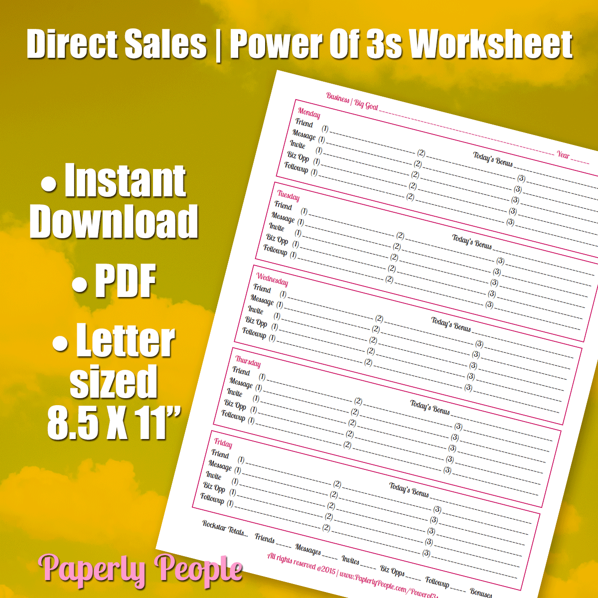 Direct Sales Power of 3s Worksheet
