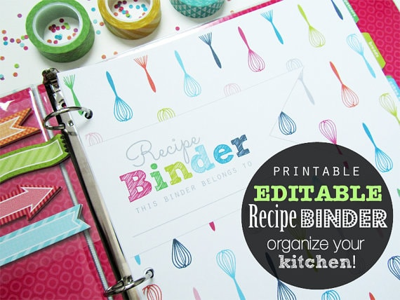 Editable Recipe Binder Printable Planner