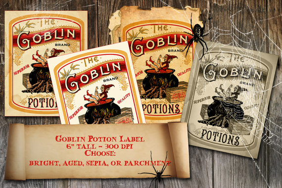 Halloween Witch Goblin Potion Label Vintage Apothecary Digital Download