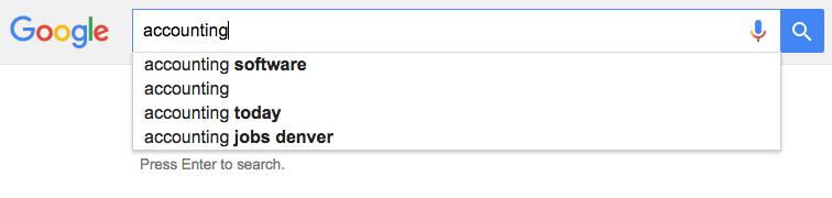Google Dropdown Search Bar