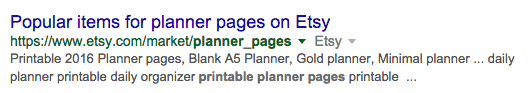 Google Search - Etsy Results