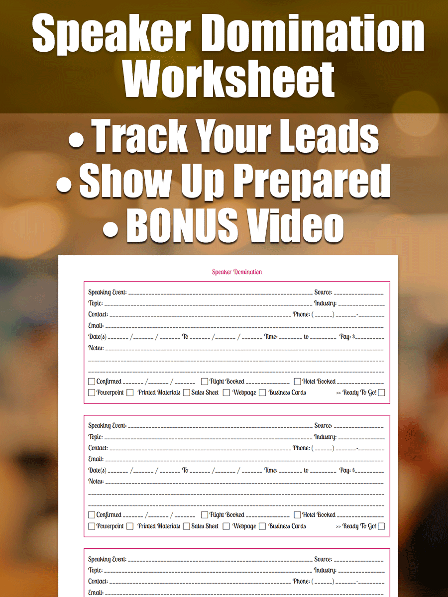 Speaker Marketing Worksheet - Speaker Domination