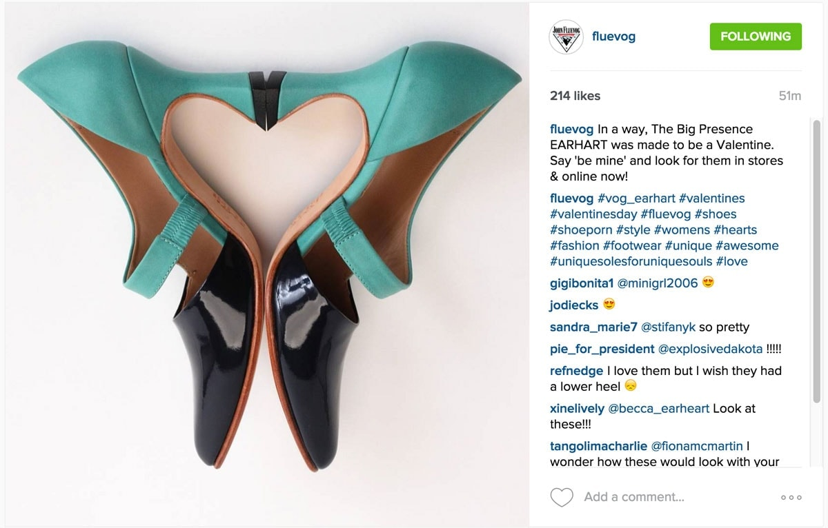 fluvog Shoes - Instagram Flat Lay Product Photography Examples