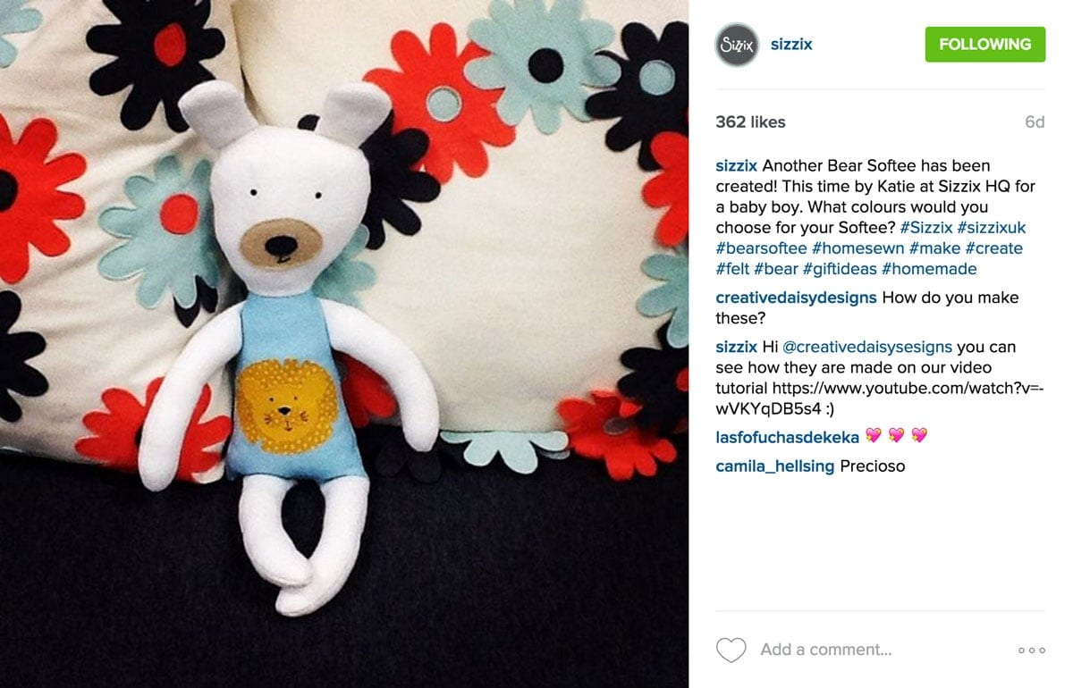 sizzix Overhead Styled Adorbs Bear | Flat Lay Photography Instagram