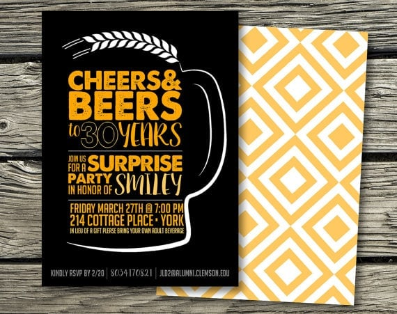 Birthday Invitation Digital Download - Cheers and Beers to 30 Years