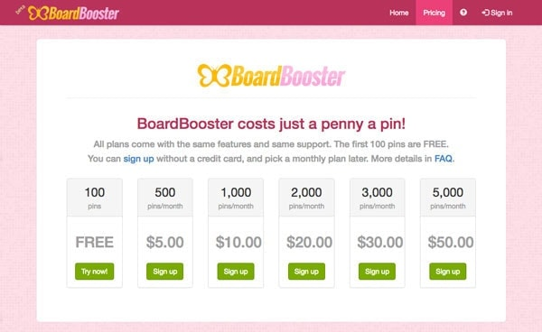 Board Booster Pricing Table