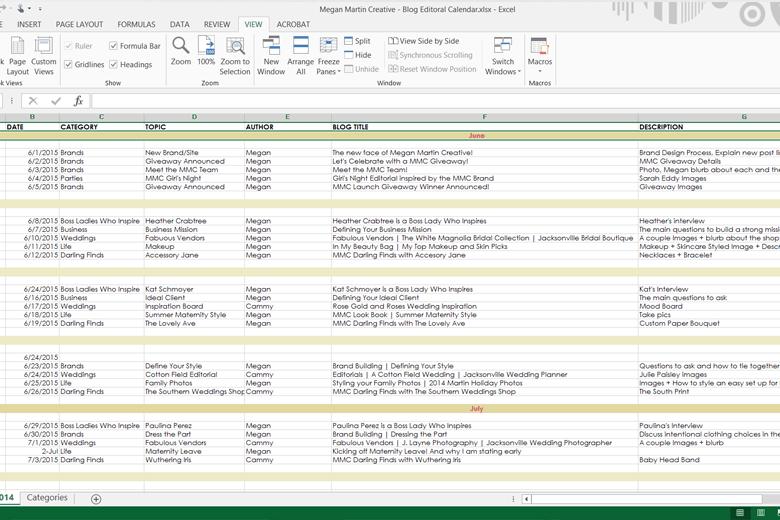 Excel Editorial Calendar