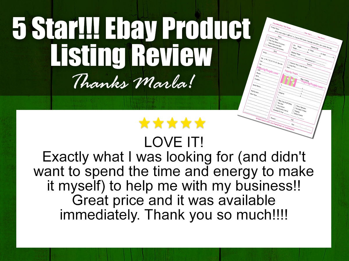 Ebay Sellers Sheet - 5 Star Review