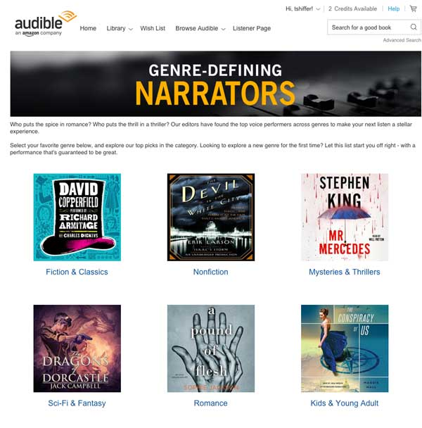 Genre Defining Narrators From Audible