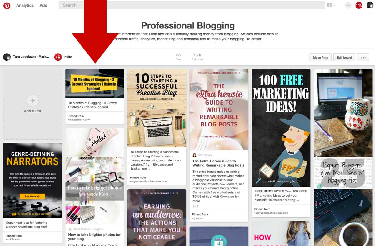 Pinterest Screen Capture of Tiny Pinterest Marketing Pin