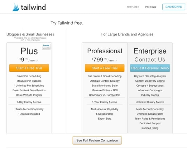 Tailwind Pricing Per Month