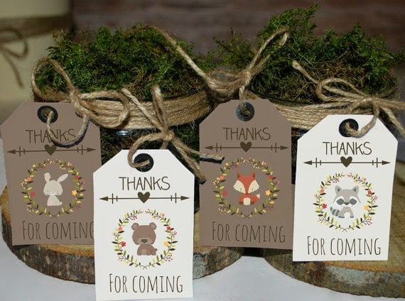 Woodland favor tags printable