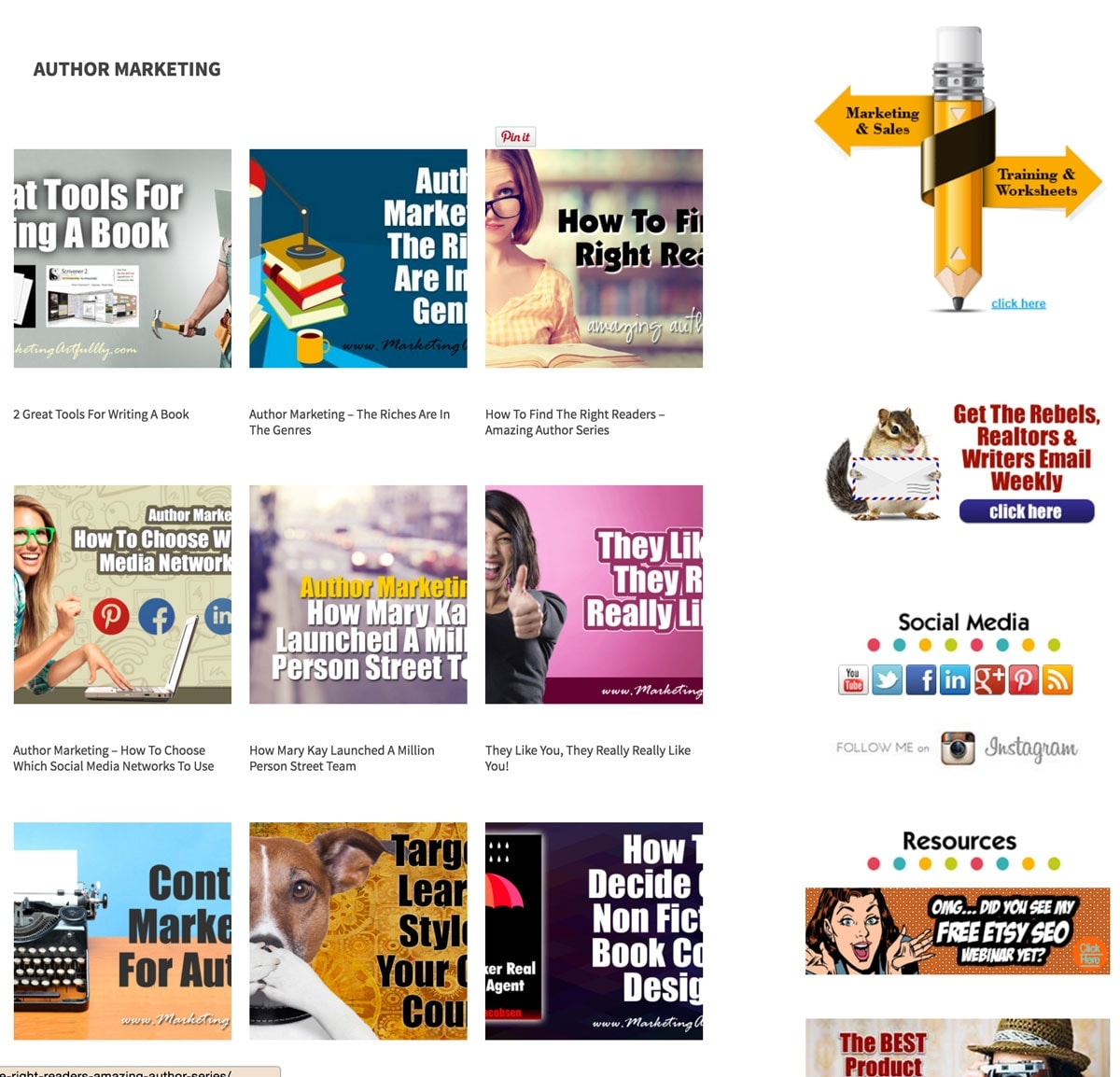 Author Marketing Category and Sidebar