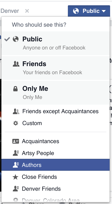 Facebook List Screenshot