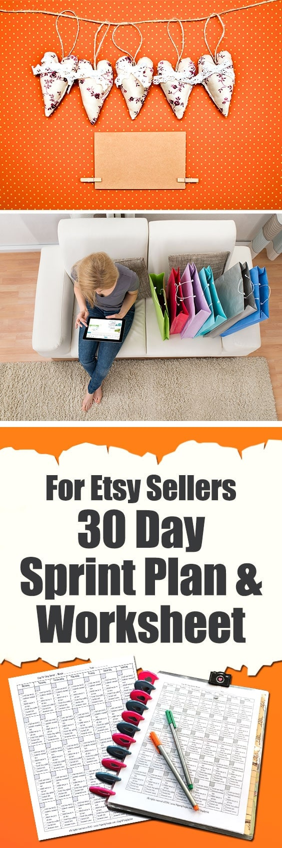 For Etsy Sellers... 30 Day Sprint Plan & Worksheet | For Etsy sellers, listings are king. Whether you are a power lister or if you only have a few items in your shop, you need to be constantly massaging your listings to make them better and more visible in Etsy search.