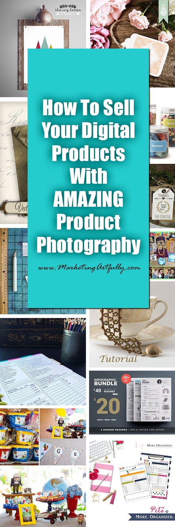 "How To Sell Digital Products With Amazing Product Photography | This product photography post came about as many of my best posts do, because I was interested in seeing what best in class shops were doing in their product photos.   Selling digital products is not the same as selling a physical product. Oftentimes there is no ""actual"" pictures that you can take so you have to improvise."