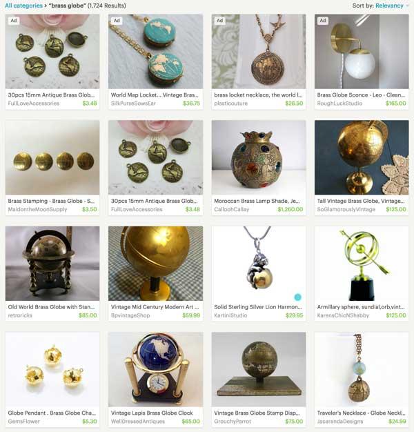 Etsy Search Brass Globe