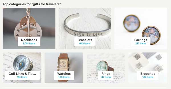 Etsy Search Categories - Gifts for Travelers