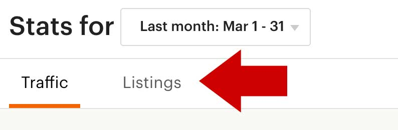 Etsy Listings Stats Tab