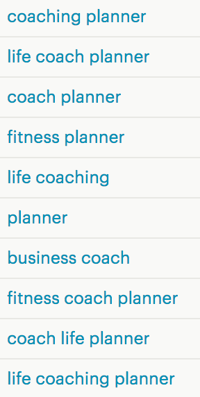 Coaching Planner Views and Keywords