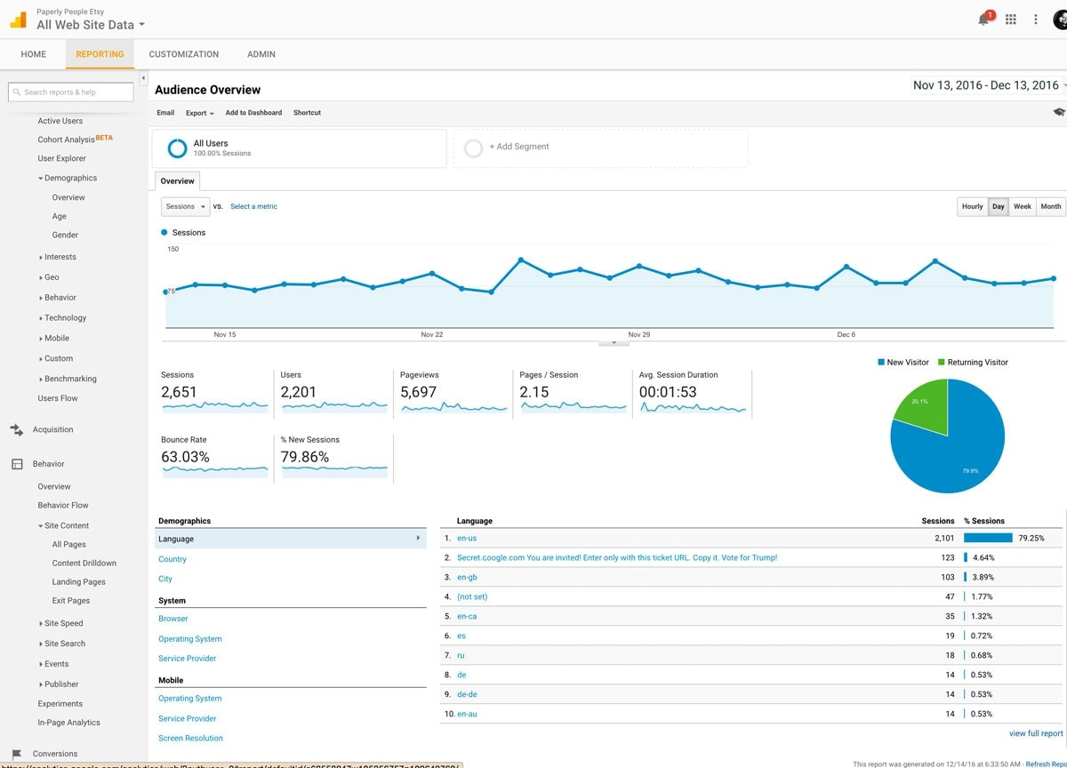 Google Analytics Audience Overview For Etsy