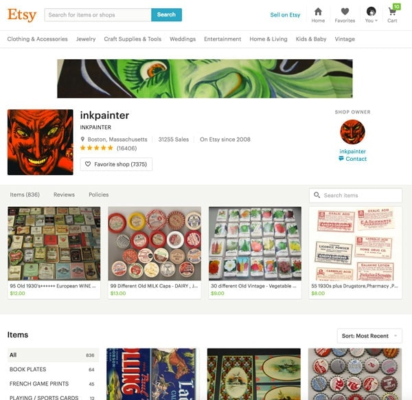 Inkpainter - Successful Etsy Shop