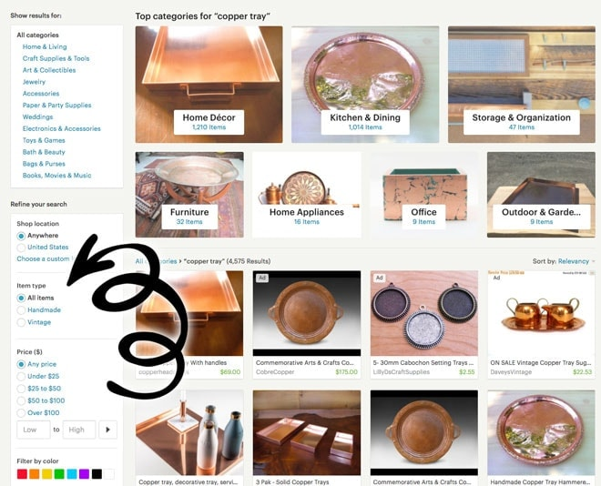 Vintage or Handmade Etsy Search