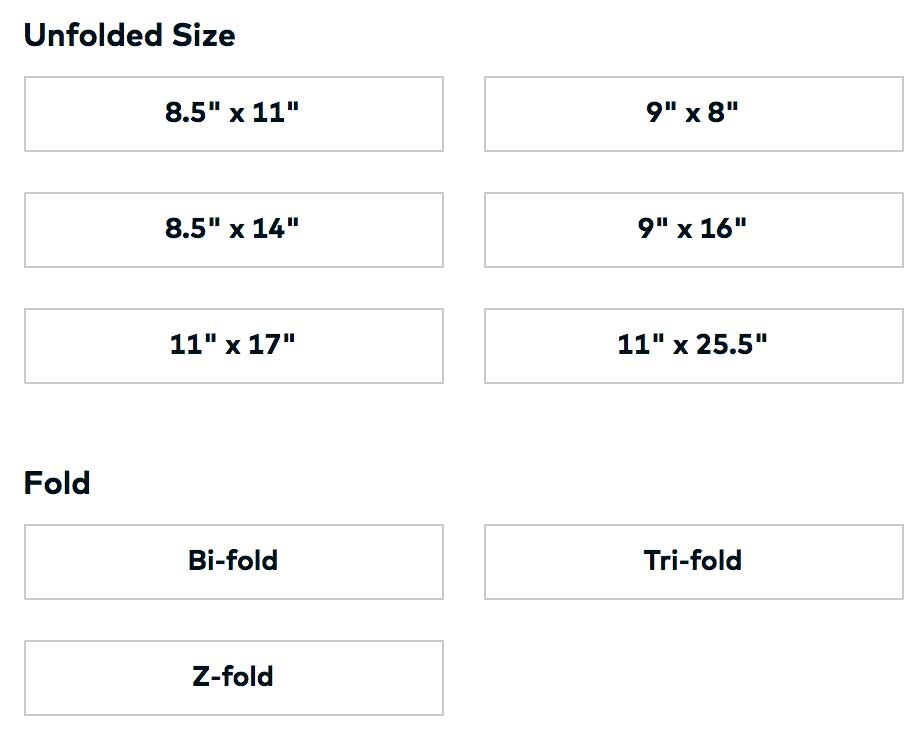Vistaprint Size Options