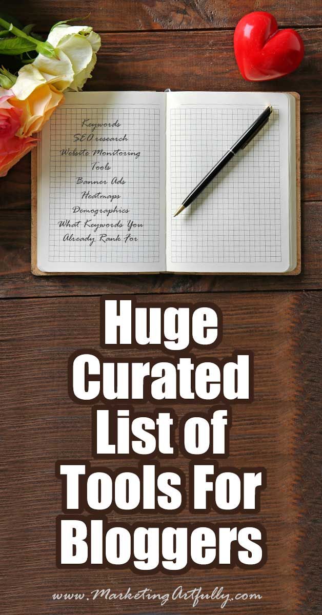 "Huge Curated List of Tools For Bloggers (65+ and counting!) I LOVE finding great new tools to use for my blogs! As with most of my ""big lists"" posts, I made this one mostly for me and hopefully it will help you too. Instead of having hundreds of bookmarks and having to think, ""what was that site again"", I just put them all here where I can find them easily!"