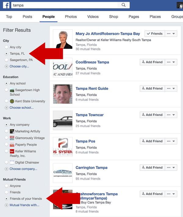 Friends of Friends Facebook Search